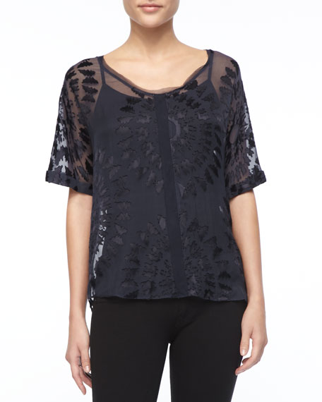 Charity Burnout Silk Blouse