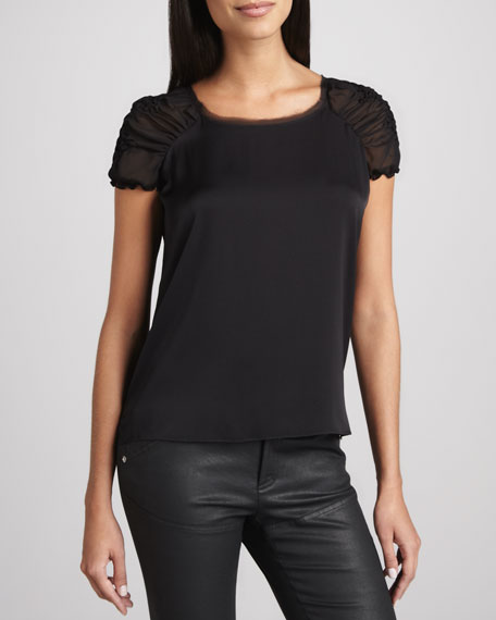 Lucy Sheer-Sleeve Blouse