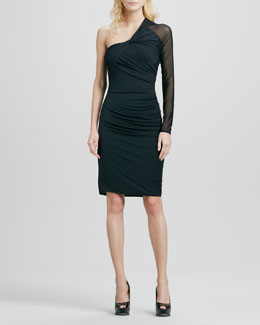 Halston Heritage One-Shoulder Jersey Dress with Mesh Sleeve