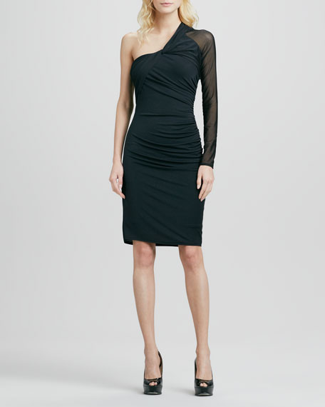 One-Shoulder Jersey Dress with Mesh Sleeve