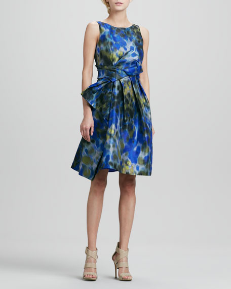 Printed Asymmetric-Bow Dress
