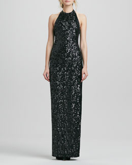 Halter Sequined Jersey Gown