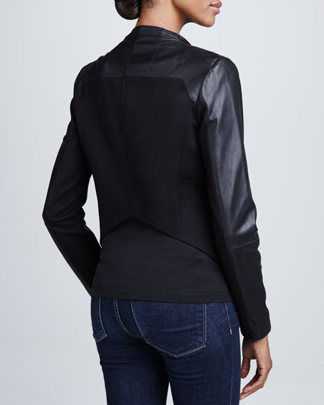 Mixed-Media Open-Front Jacket