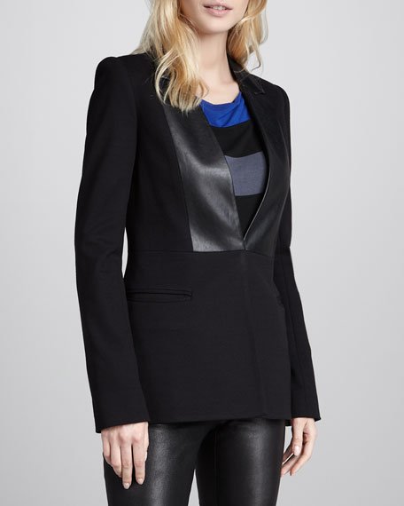 Digerati Faux-Leather-Panel Blazer