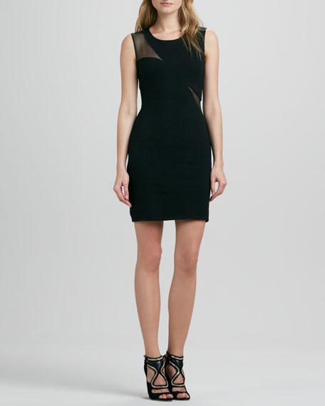 Domain Mesh-Inset Sleeveless Dress