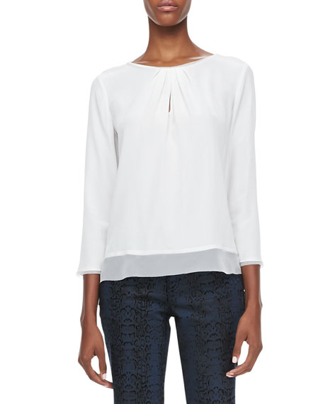 Sheena Pleated-Neck Silk Blouse