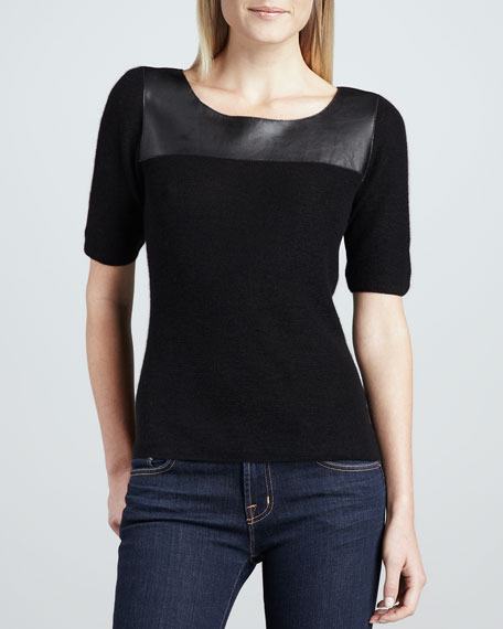 Prestley Leather-Yoke Knit Blouse