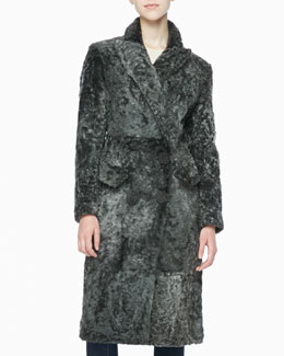 Donna Karan Double-Breasted Shearling Coat