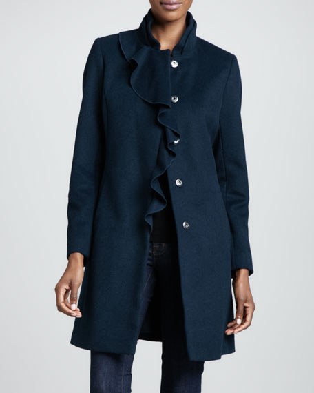 Asymmetric-Ruffle 3/4-Length Coat