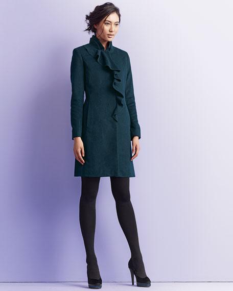 Asymmetric-Ruffle 3/4-Length Coat