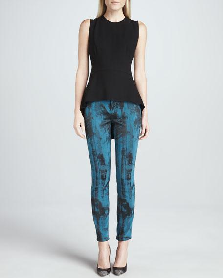 Azella Printed Skinny Zip-Cuff Jeans