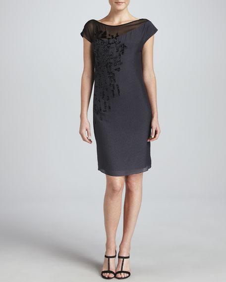 Darlene Asymmetric-Detail Shift Dress