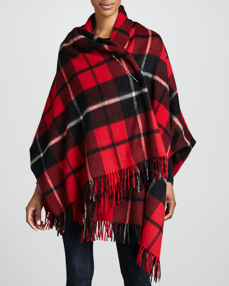 Wool Plaid Blanket Shawl with Pin