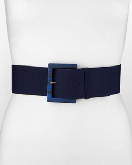 Donna Karan Bakelite-Buckle Belt, Ink