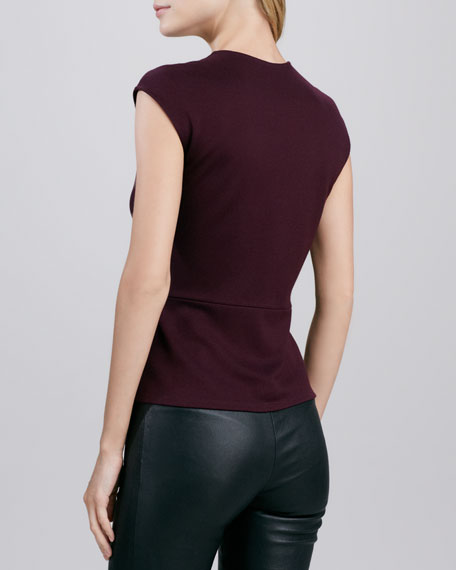 Legacy Faux-Leather Paneled Ponte Top