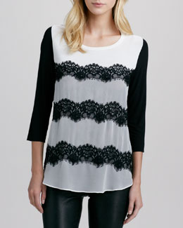 Bailey 44 Torn Valentine Lace-Stripe Top