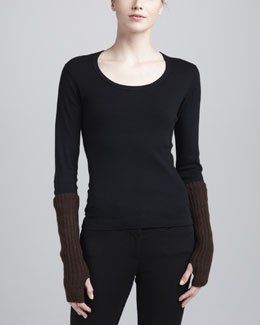 Donna Karan Wool & Cashmere Arm Warmers, Peat