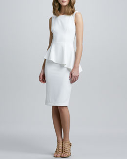 Nha Khanh Asymmetric-Peplum Sleeveless Dress