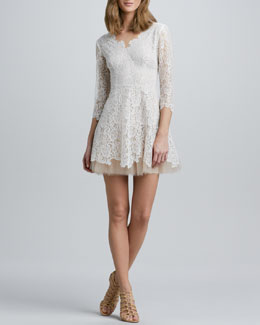 Nha Khanh Tulle-Skirt Lace Dress