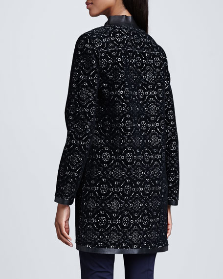 Melody Lace & Leather-Trim Coat