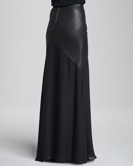 Cheyleigh Leather-Top Maxi Skirt