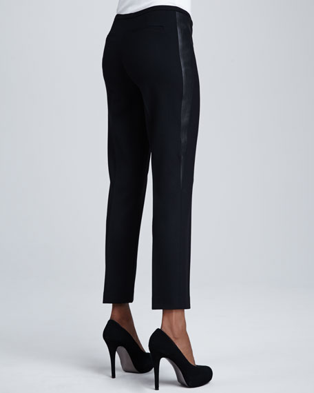 Jillian Leather-Trim Pants