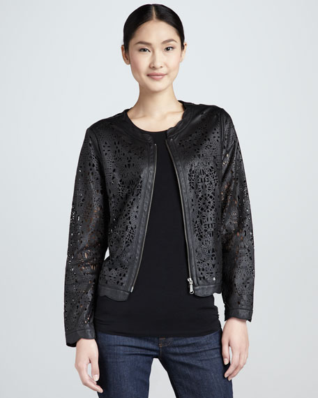 Perforated Lambskin Lace Jacket, Women's