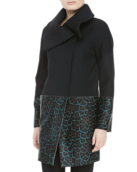 Vallory Printed Calf Hair Coat