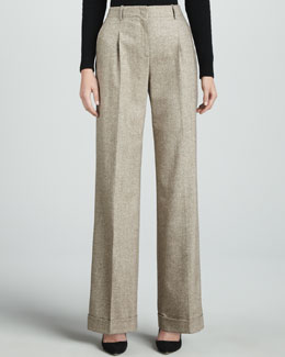 Lafayette 148 New York Harrison Pleated Tweed Pants