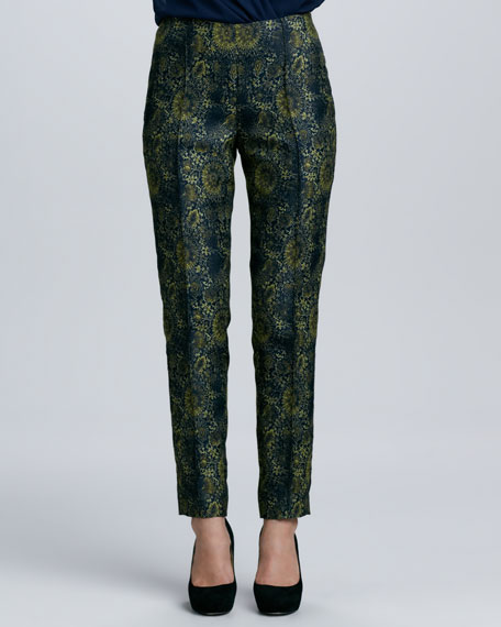 Printed Skinny Pintucked Pants