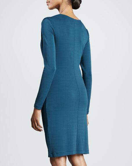 Grecian Drape Long-Sleeve Dress