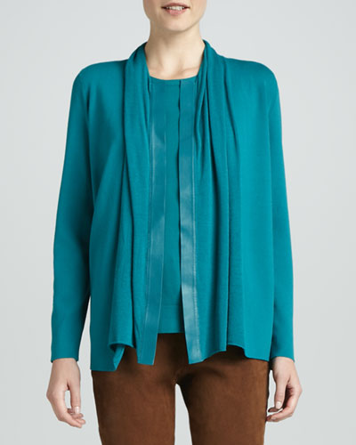 Lafayette 148 New York Cardigan with Leather Placket