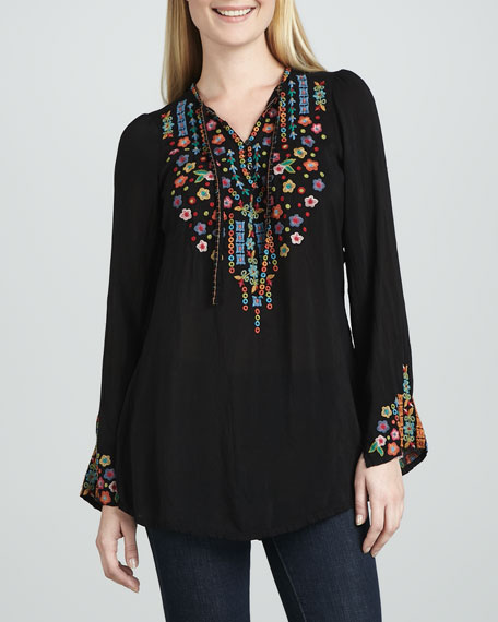 Ditsy Flower Long Tunic, Women's