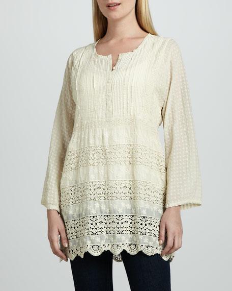 Long-Sleeve Crochet Blouse, Women's