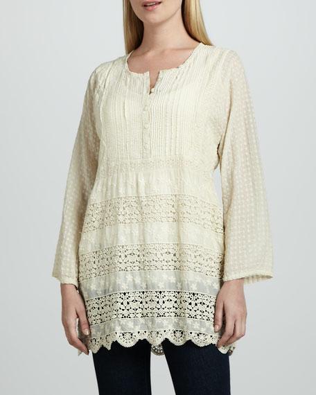 Long-Sleeve Crochet Blouse