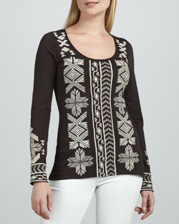 JWLA for Johnny Was Kiera Long-Sleeve Embroidered Tee