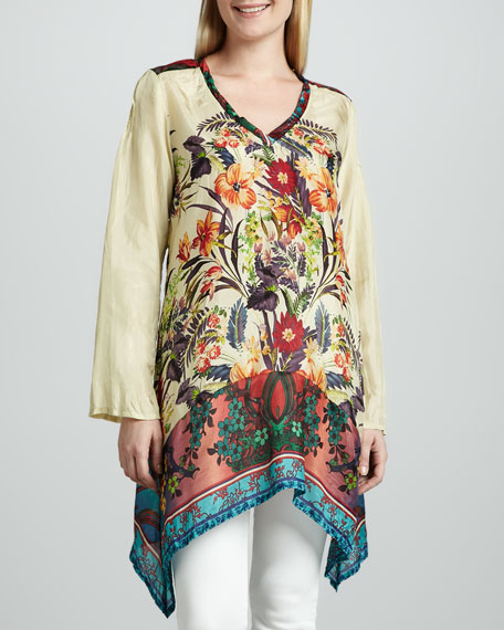 V-Neck Printed Silk Georgette Tunic