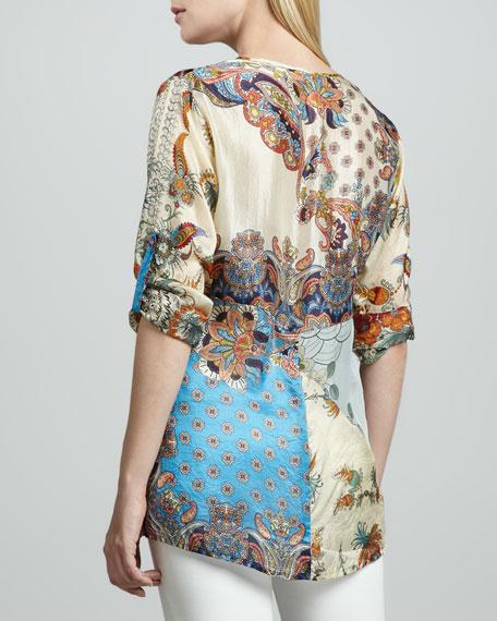 Mixed Print Silk Tunic, Women's