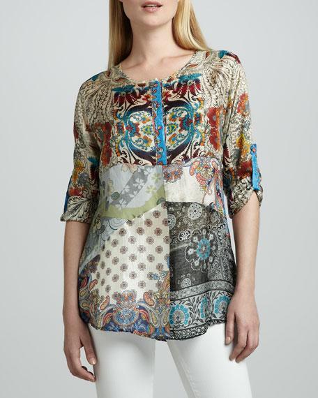 Mixed Print Silk Tunic