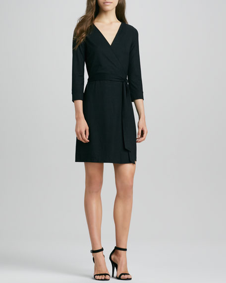 New Julian Two Mini Wrap Dress, Black