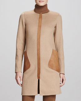 Lafayette 148 New York Shira Coat with Leather Pockets