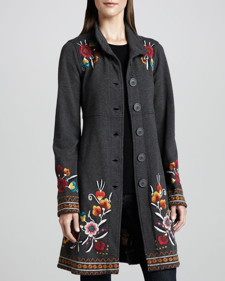 Zoe Embroidered Military Coat, Women's