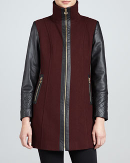 MICHAEL Michael Kors  Faux-Leather-Sleeve Felt Coat