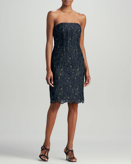 Strapless Lace Cocktail Dress