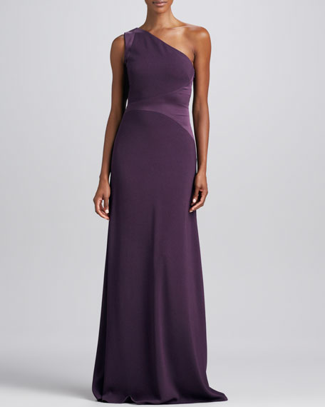One-Shoulder Open-Back Gown