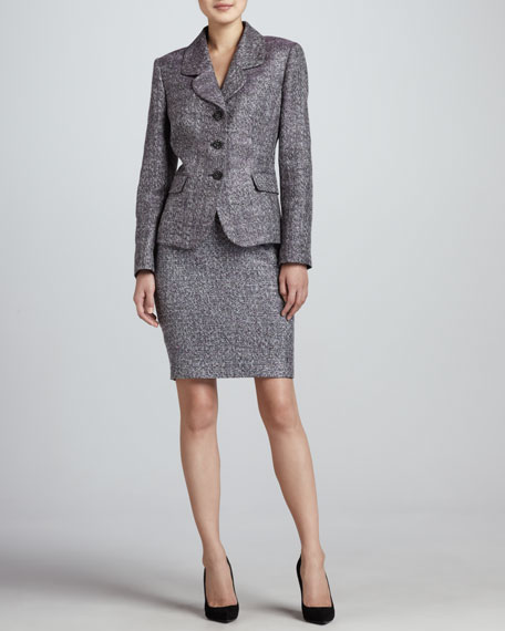 Tweed Long-Sleeve Skirt Suit