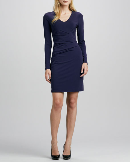 Gathered V-Neck Jersey Dress