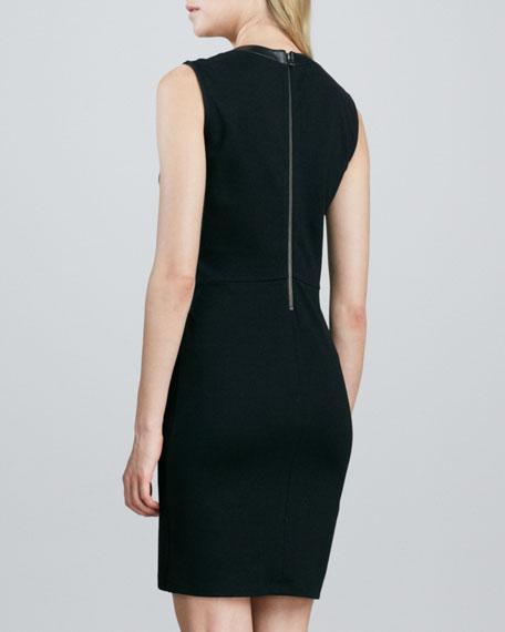Sleeveless Leather-Front Dress