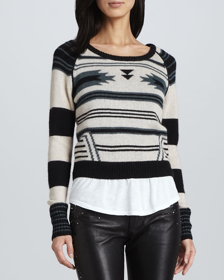 Southwestern-Stripe Knit Sweater