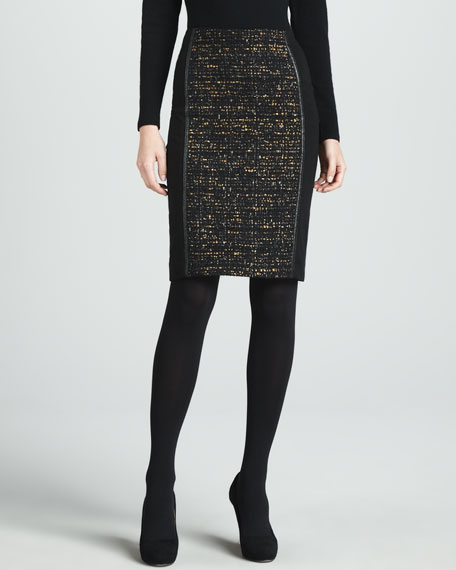 Christina Tweed-Panel Skirt